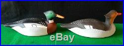 Pair Carved Wooden Hunting Red Breast Merganser Duck Decoy Signed Charlie Joiner
