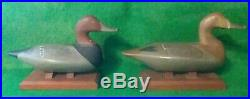 Pair Carved Wooden Hunting Redhead Duck miniature Decoys Bob McGaw Havre DeGrace