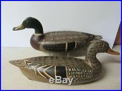 Pair Fred Mott Pekin Ill, Mallard Duck Decoys