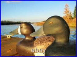 Pair Of Vintage Blue Bill Duck Decoys Drake And Hen