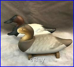Pair of Canvasback Duck Decoy- Signed Charlie Joiner Chestertown MD