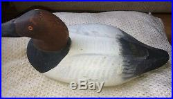 Paul Gibson 1902-1984 Hand Carved Canvas Back Drake Duck Decoy