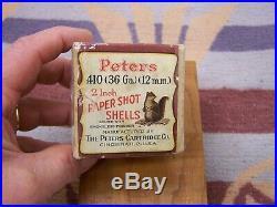 Peters Squirrel Empty 410 2 Shot Gun Shell Ammo Box Calendar Poster Duck Decoy