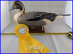Pintail Drake Decoy with Ribbon George Strunk 1993