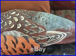 RARE GEORGE KIEFFER HAND CARVED PAINTED WOODEN PHEASANT DECOY Signed