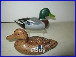 RARE PAIR Chas Hadden Perdew Mini 4 x 8 inch Mallard Hen Drake wood Duck Decoy