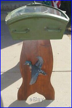 RARITY Casey Edwards Wood Carved Duck Decoy Hunting Scene Boat Table Fish Lure