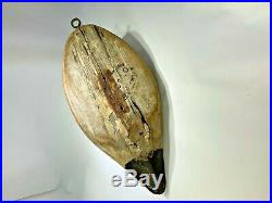 Rare 1920's A. Elmer Crowell Duck Decoy Original Glass Eyes 15 1/2 Maker Signed