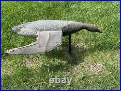 Rare Antique Vintage Wood & Canvas Flying Goose Decoy Glass Eyes Tuveson Mfg Co