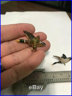 Rare Charles Perdew Original Wooden Duck Decoy Miniature Earrings Pin Henry IL