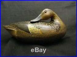 Rare Cline McAlpin Teal Carved Illinois Duck Decoy Mint Condition Stamped 60'S