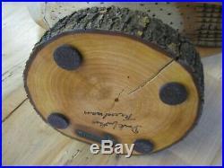 Rare Darkfeather Freedman Wooden Barn Owl Decoy Wood Carving