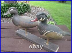 Rare Vintage Wisconsin Wood Duck Standing Pair Decoys