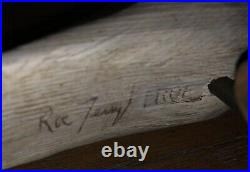 Roe Duc-Man Terry Carved Wood Yellowlegs Shorebird Decoy And Burl Base Signed