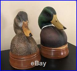 Sean Sutton Mallard Duck Decoy Bust Pair