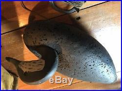 Set Of 6 LL Bean Cork Black Duck Coastal Decoys With Canvas Bag