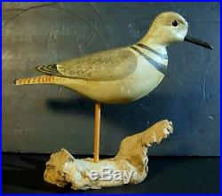 Signed Antique Shore Bird Decoy H. V. Shourds Hand Carved & Painted on Stand