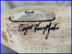 Sleeper Canvas Back Drake Duck Decoy by Capt. Harry Jobes, Signed, Weighted Keel