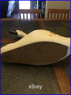 Solid Wood Large 23 Wooden Duck Swan Decoy with glass eyes