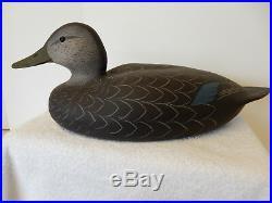 Spectacular Vintage Wood Black Duck Decoy By Strunk & Birdsall New Jersey O/p