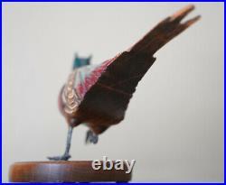 TOM TABER Wood Carved Ringneck Pheasant Signed Bird Decoy Sculpture Statue