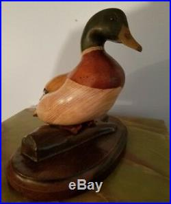 Tom Taber Artist Signed Carved Wood Mallard Duck Decoy On Stand