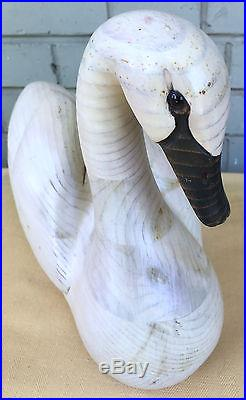Tom Taber John Fairfield Wood Swan Duck Decoy Hand Carved