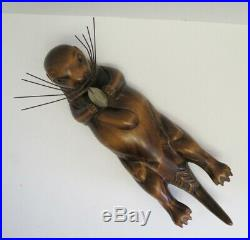 Tom Taber Wood Carved Seaotter And Clam Signed Early Decoy Sculpture Statue