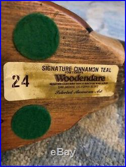 Tom Taber Woodendare Signature Collection Cinnamon Teal carved wood decoy