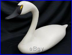 Very Large Hand Carved Solid Wood White Swan Decoy by Capt. Harry Jobes