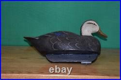 Very Nice Quality Done Vintage Black Duck Cork Wood Duck Decoy Ex+