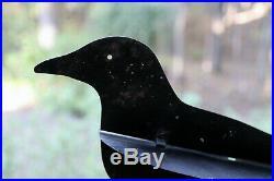 Very Rare Antique Vintage Metal Dewey Outing Folding Crow Decoy, Original Paint