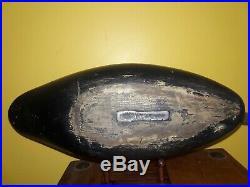 Vintage 1930s Carl Lewis Ocean City NJ Black Duck Decoy Beautiful Scratch Paint