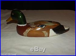 Vintage 1950-60s Decoy Hand Carved & Painted Glass Eye Wood Mallard Duck