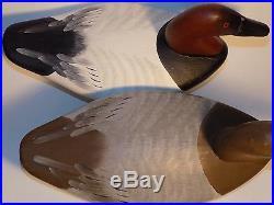 Vintage BRANDED Canvasback Duck Decoy PAIR Heinefield JOINER