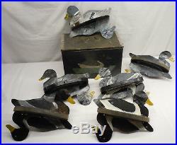 Vintage Burton Wilcox Metal Flip Double Duck Decoys w signed storage box 1893