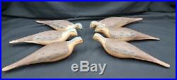 Vintage Captain Harry Jobes Hand Carved Coot Duck Decoys Set of 6 All Signed