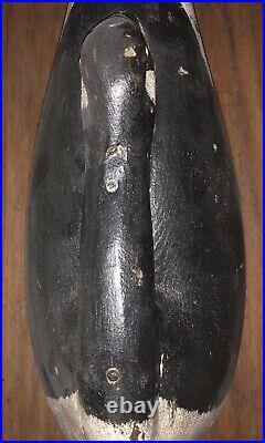 Vintage Carved Wood Sleeping Goose Drake Duck Decoy Glass Eyes Sam Soper Rare