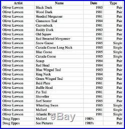 Vintage Decoy Collection Oliver Lawson-Scaup 1984