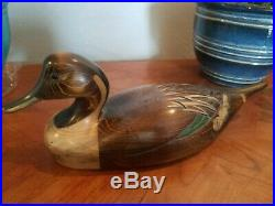 Vintage Ducks Unlimited Hand Carved Wooden Pintail Decoy signed Tom Taber