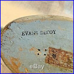 Vintage Evans Mallard Drake Wood Duck Decoy With Strong Stamp