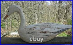 Vintage F & S Duck Wood Decoy Snow Goose Folk Art