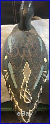 Vintage Herters Inc 1893 Duck Decoy Drake Blue Winged Teal Handpainted Wood