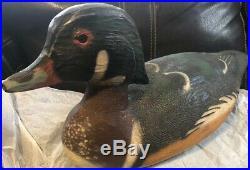 Vintage Herters Inc 1893 Duck Decoy Drake Wood Duck Handpainted Wood