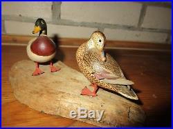 Vintage Horace Crandall California Wood Carved Mini Mallard Duck Decoys Rare