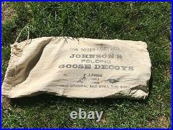 Vintage Johnson's Folding Goose Stake Decoys withOriginal Canvas Bag