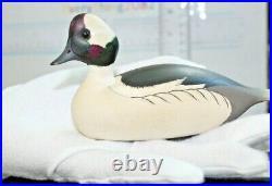 Vintage Ken Harris Carved Wood Duck Miniature Decoy 5L x 2.5 H x 1,5W