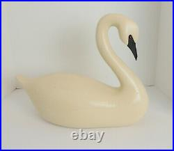 Vintage Large Wood Swan Decoy Statue White Painted Unsigned 16 Long x 12 High