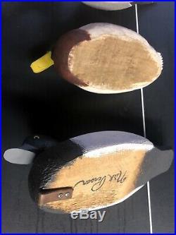 Vintage Lot Of 7 Mallard Hen Drake Wood Duck Decoys Glass Eye Antique