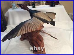 Vintage Lrg. Beautiful Carved Flying Canvasback Duck Decoy Mounted on Driftwood